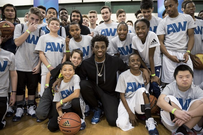 THORNHILL, ON - February 13, 2016: adidas athlete Andrew Wiggins of the Minnesota Timberwolves makes an appearance at the Dufferin Community Center where he played as a youth. (Photo by Joe Martinez/adidas) for Toronto NBA All-Star Weekend