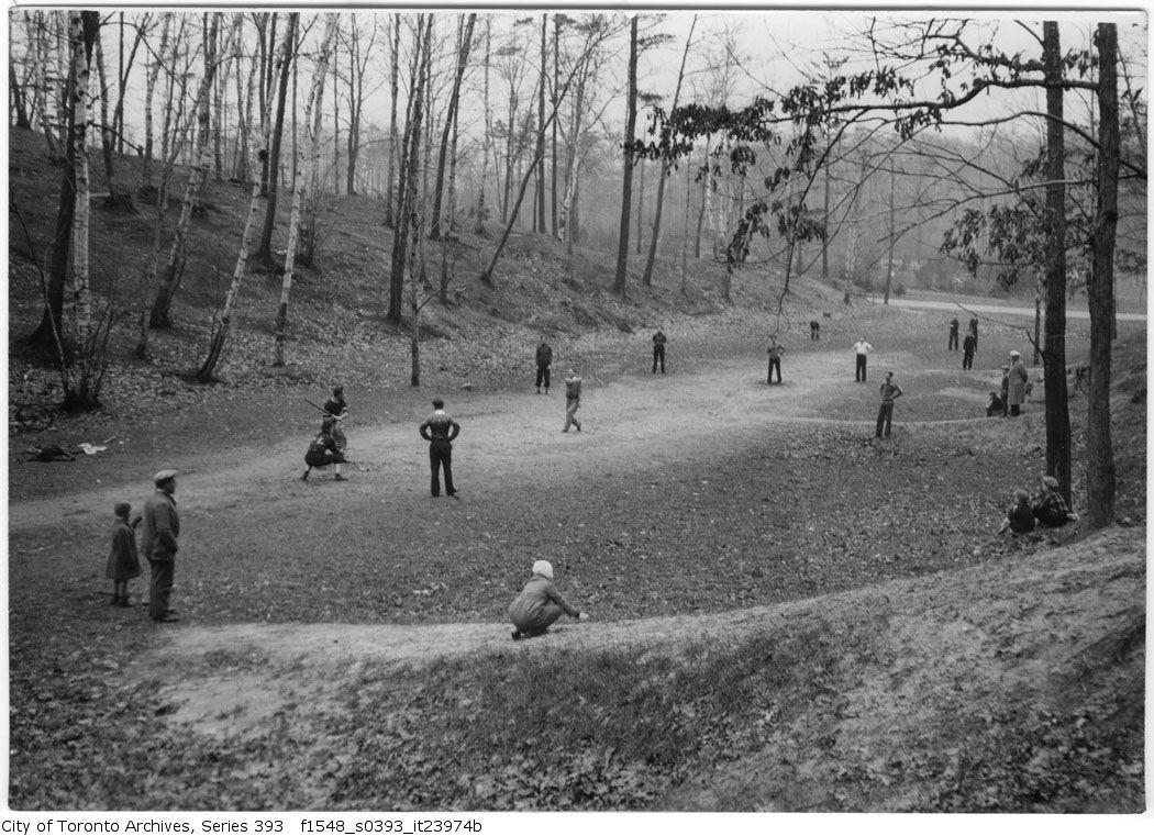 High Park - Bryan children and goat - baseball - trees at creek april 16 1933 vintage baseball photographs