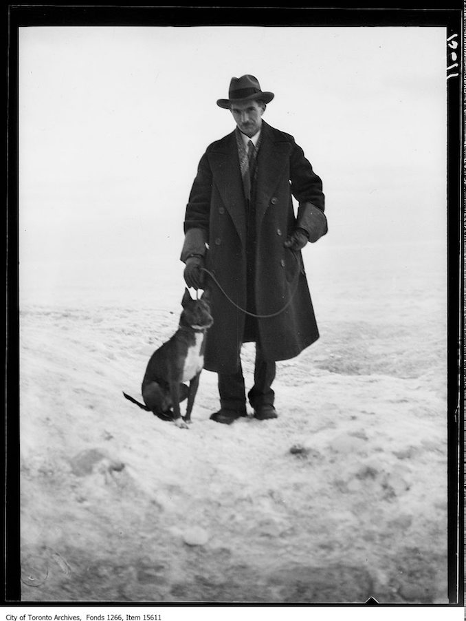 Kew beach ice scenes, JHB and dog Tinker. - January 27, 1929