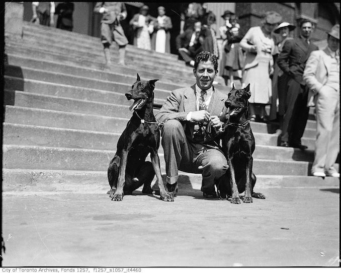 Rudy Vallee, with two dogs 193? - Vintage Animal Photographs