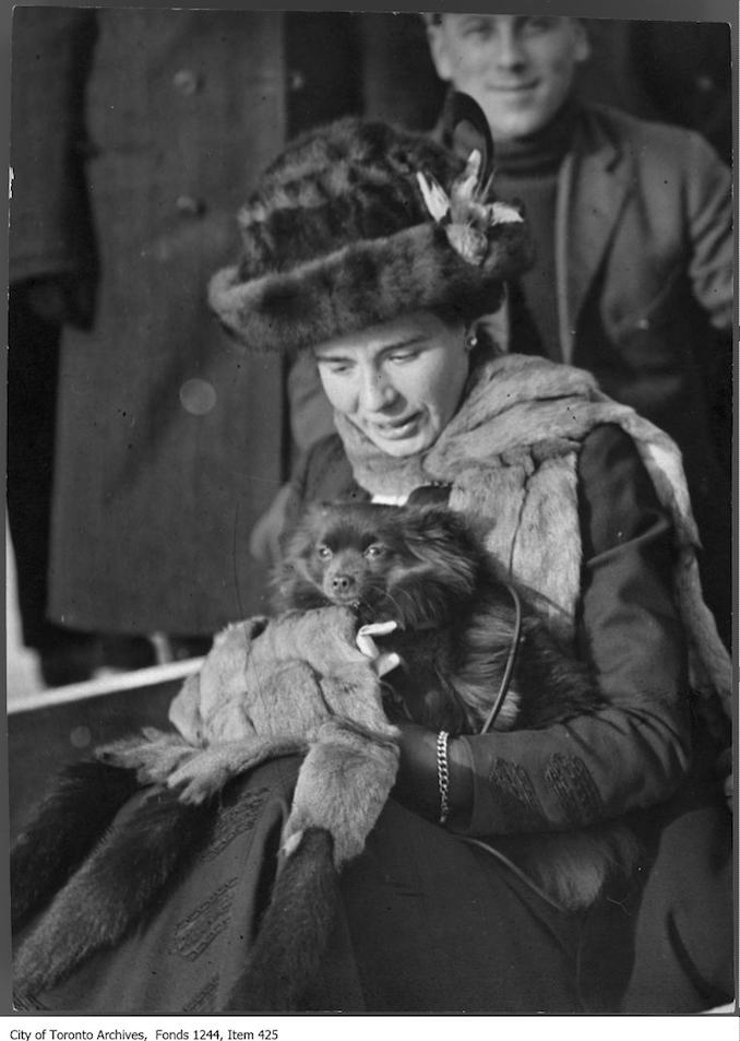 Woman with small dog. - 1908 - Vintage Animal Photographs