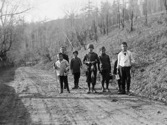 1916-Don-Valley-boys-returning-from-fishing - Vintage Fishing Photographs