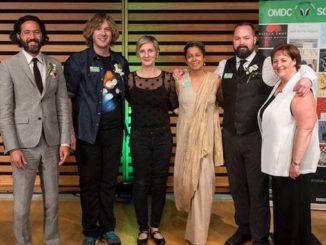 Mark Sakamoto, David Ménard, Véronique-Marie Kaye, Soraya Peerbaye, Kevin Hardcastle and Karen Thorne-Stone Trillium Book Award