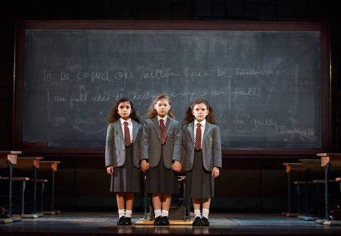 Jenna Weir, Jaime MacLean and Hannah Levinson all star as Matilda in MATILDA THE MUSICAL ©2016, Joan Marcus