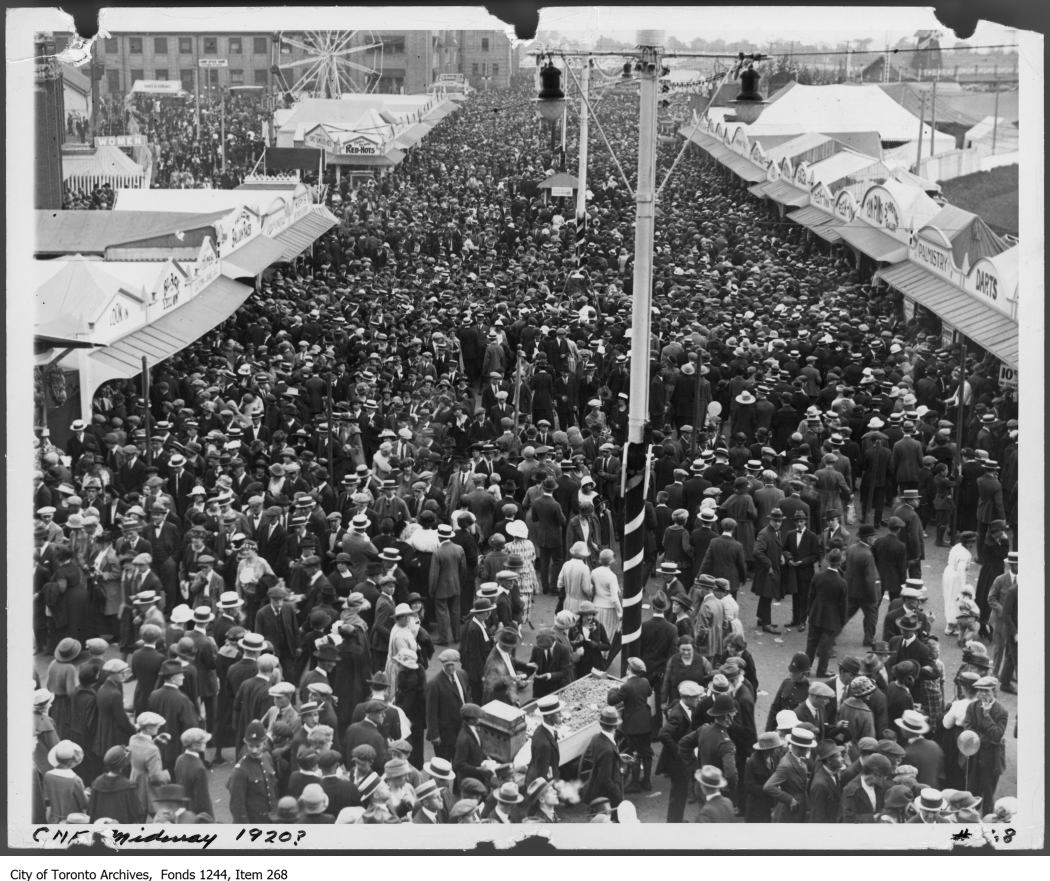 1920 - Crowds on midway, CNE