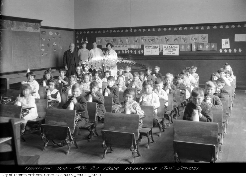 1923 - Milk program, Manning Avenue School