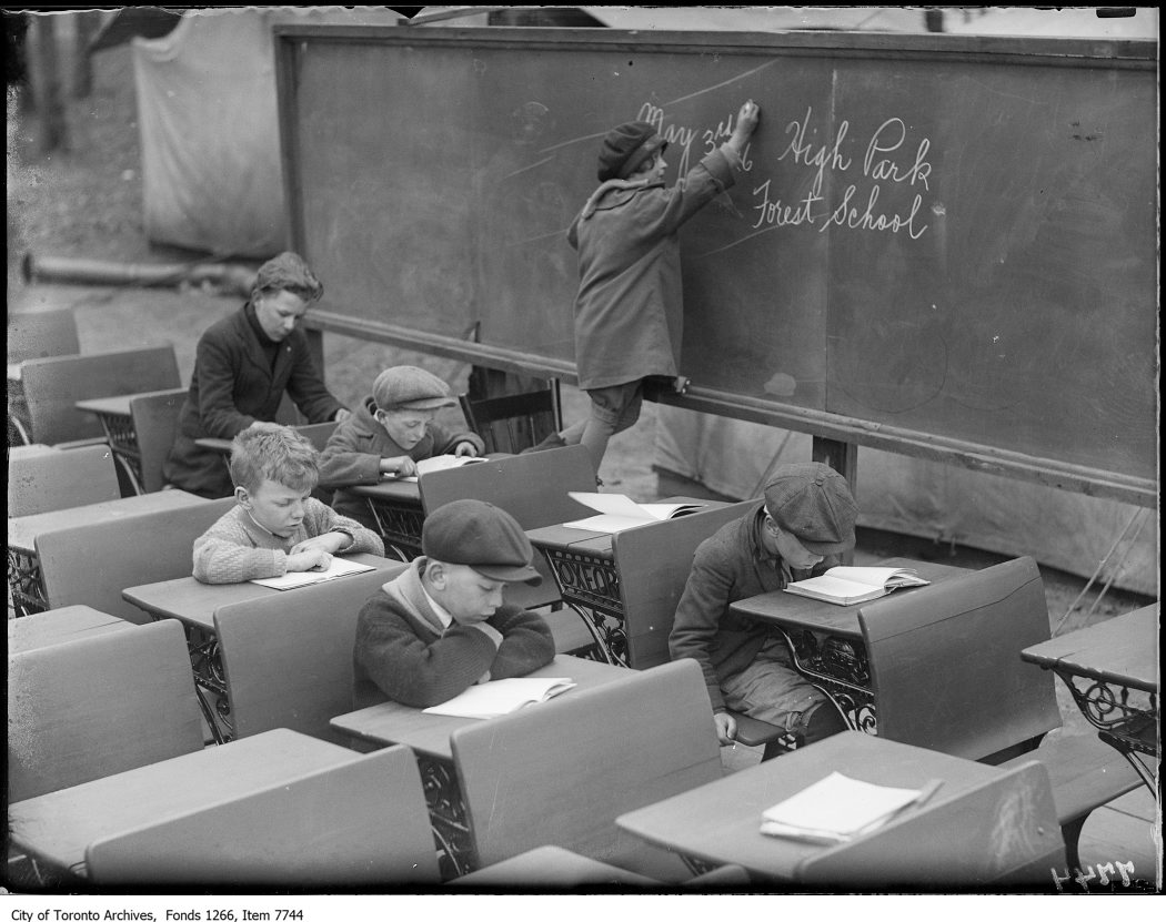 1926 - High Park Forest School class at work, girl writing