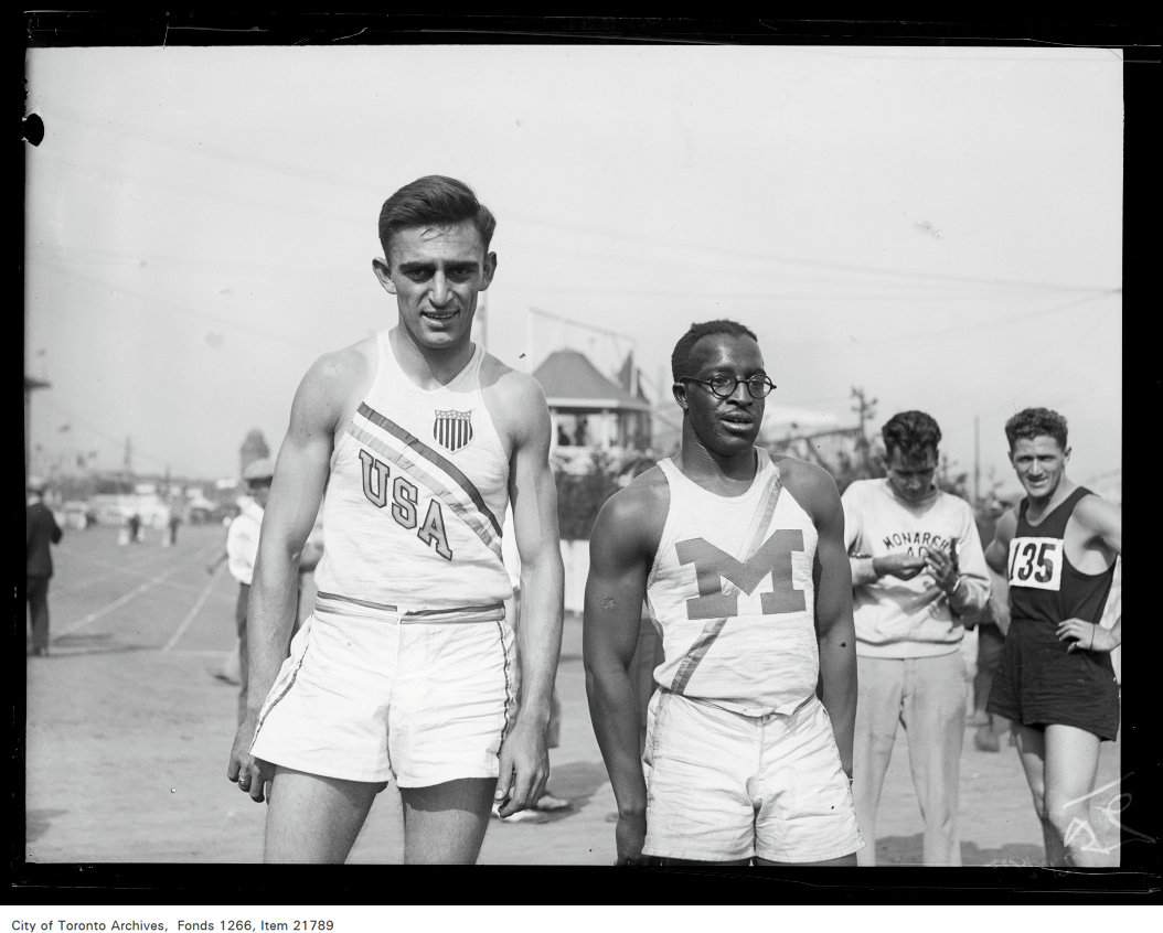 1930 - CNE, sports, Geo. Simpson, Ohio State University, Eddie Tolan, Detroit, 1st and 2nd 220 yard open