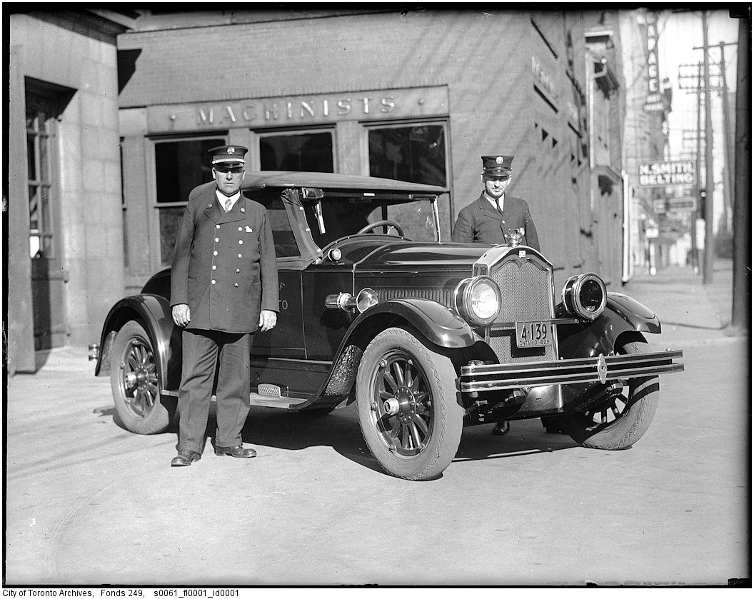 1928 - Deputy Chief George Sinclair and Buick car and driver, Adelaide Street