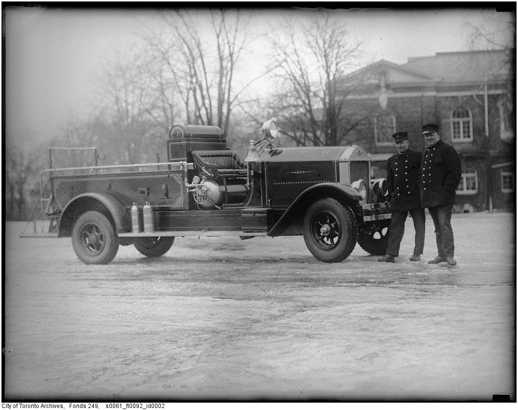 1929 - American LaFrance truck at the CNE, salvaged and rebuilt after crash with streetcar at Yonge and Dundas streets