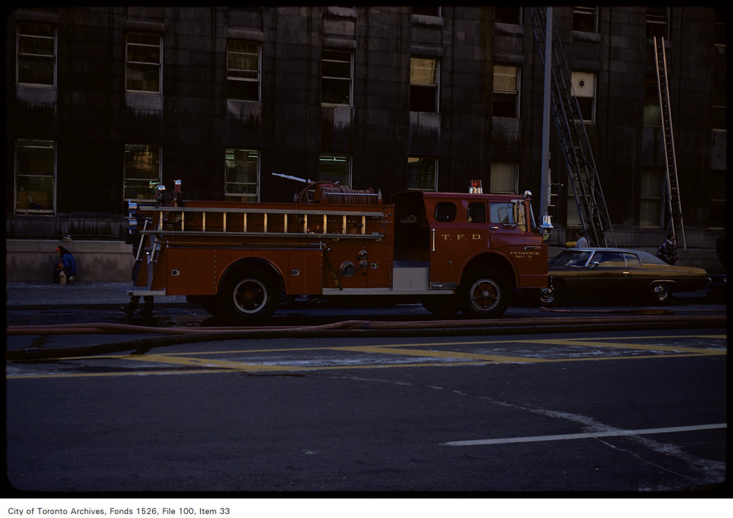 1974 - View of fire truck in front of Terminal A of Union Station