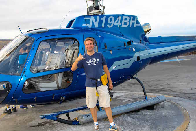 Joey excited after his helicopter ride over the Kilauea Volcano in Hawaii