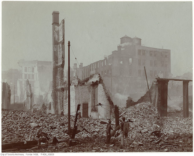 1904 - Aftermath of the 1904 fire: Front Street at Bay looking east