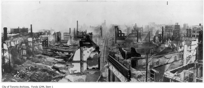 1904 - Toronto Fire ruins, Front Street looking west from Yonge Street.
