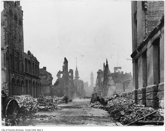 1904 - Toronto Fire ruins, looking north from foot of Bay Street.