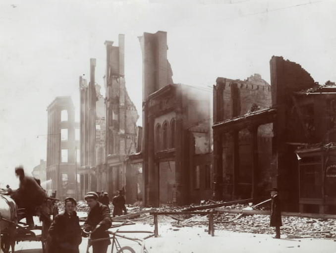 1904 - aftermath of fire, Bay St., w. side, s. from Melinda St.