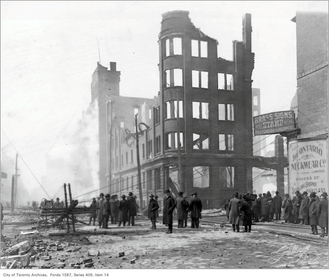 1904 fire ruins, n.w. corner of Bay Street and Wellington Street West
