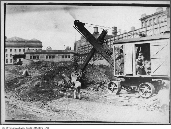 1908 - Excavating ruins of the Great Fire of 1904 for a new Customs House, Front Street at Yonge Street.