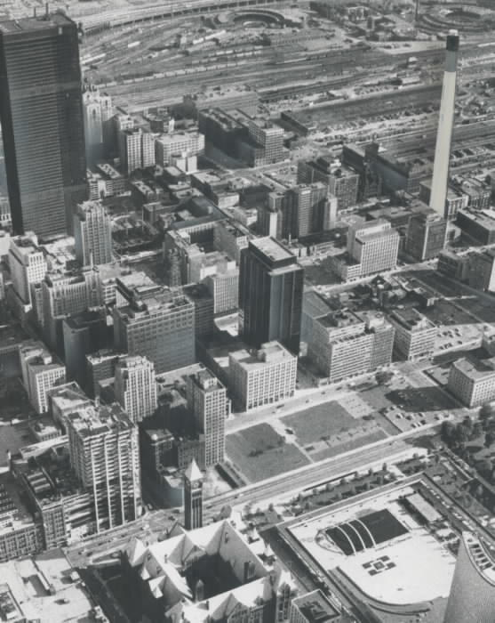 1966 - Looking southeast; visitors to the observation platform will get this view of the controversial old city hall from the new