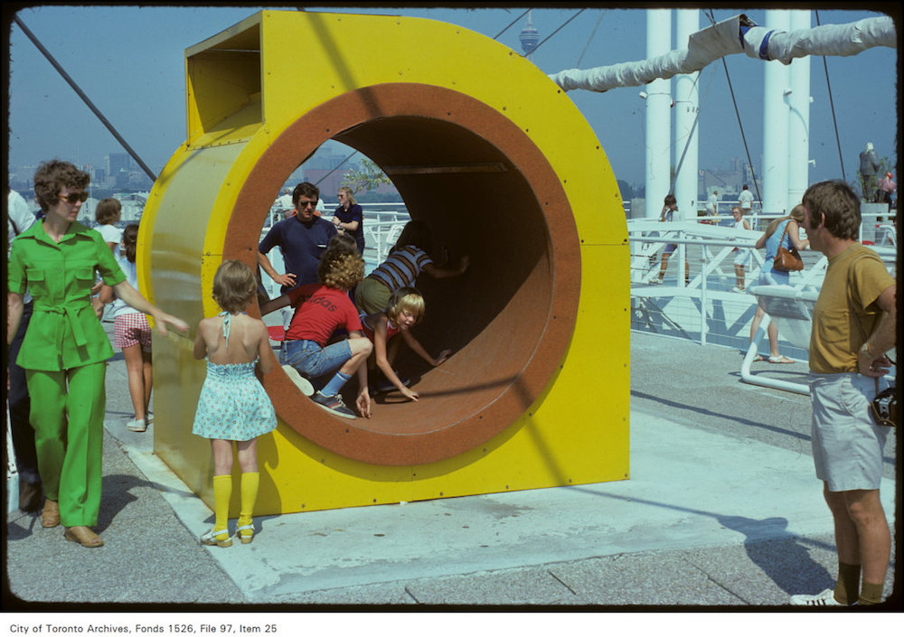 1976 - View of children playing in ride at Ontario Place