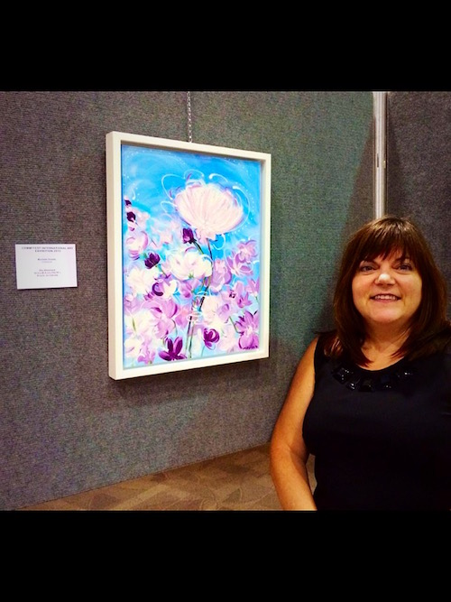 My painting 'Sky Bloomers' exhibited at The Rotunda Art Gallery, Toronto Metro Hall, Commffest Global Arts & Film Festival, September 2015