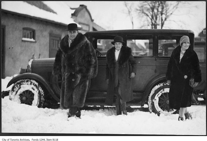 C.W. Wilson, his daughter, and Mrs. Wilson, Eglinton Hunt Club. - [ca. 1929] - The car is a Jewett.
