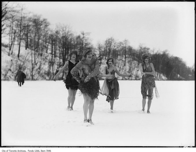 Dancers, four in snow, close. - February 4, 1926