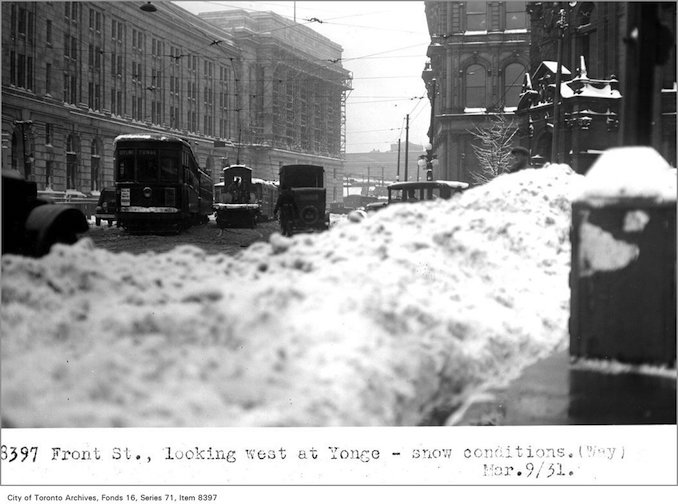 Creator: Alfred J. Pearson Date: March 9, 1931- Front St, looking west, at Yonge - snow conditions,