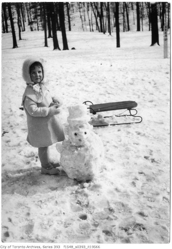 Girl with snow man squirrel - 1925