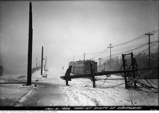 Main Street south of Danforth Avenue, storm damage - 1926