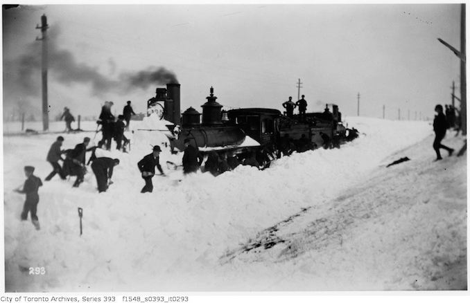 Toronto Winter Photographs Snow blockade - engines fast in a drift - march 21 1896