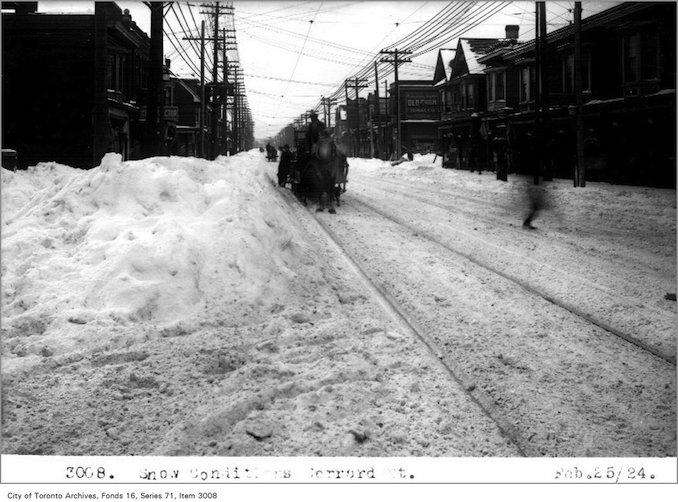 Snow conditions, Gerrard St - 1924