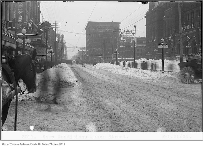 Snow conditions, Queen St - Date: February 25, 1924