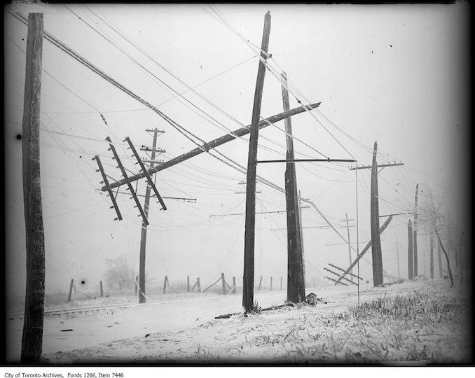 Storm photos, broken poles, Hamilton Highway, Mimico Creek. - March 31, 1926