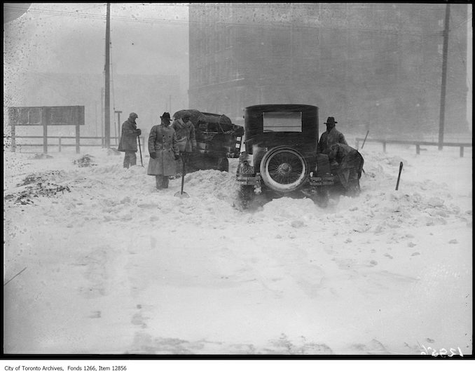 Storm photos, car and truck in drift, Terminal Warehouse. - March 9, 1928