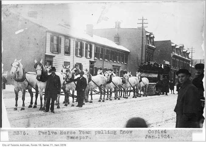 Toronto Winter Photographs Twelve horse team, pulling snow sweeper - Date: November 21, 1891