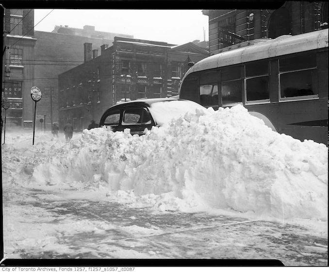 Unidentified parking lot after a snow storm dec 11 1944
