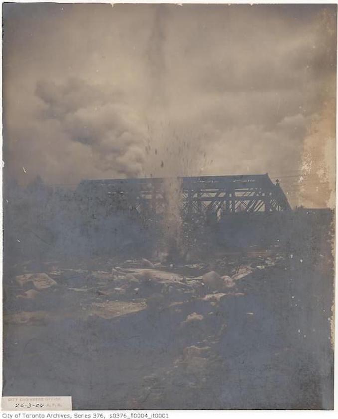 Toronto Winter Photographs –Blasting ice on Don River– March 26, 1904