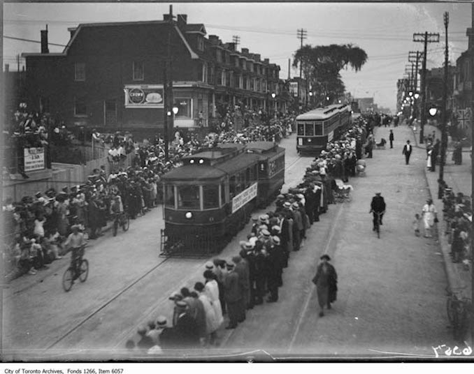 Bloor Subway Parade, old electic car & trailer 1925