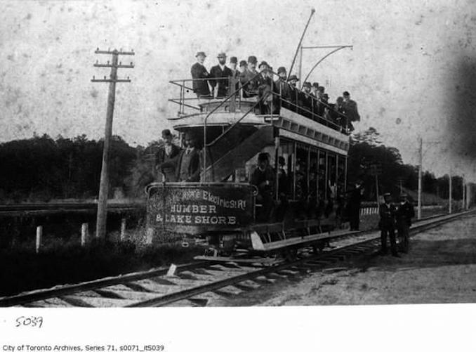 Double deck streetcar, Humber and Lakeshore c. 1893