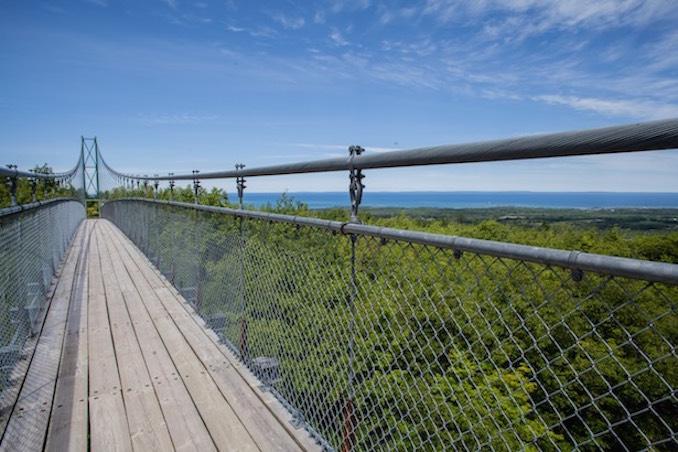 Georgian Bay camping trips suspension bridge