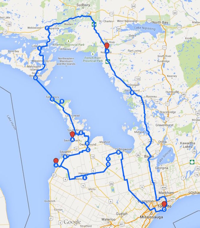 Georgian Bay camping trips route