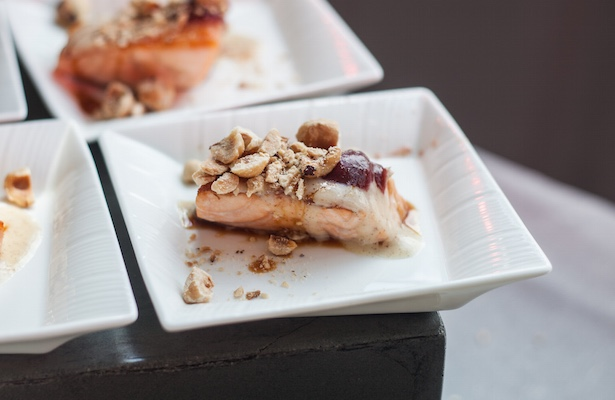 Kuterra Salmon – B.C. Cranberries, Hazelnuts, Smoked Vancouver Island Sea Salt Brine and Birch Syrup. ned bell chef