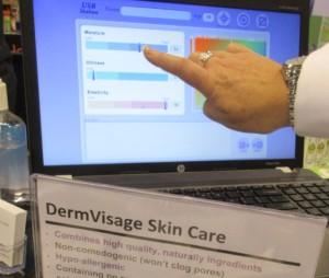Dermvisage skin care analysis tool indicates low moisture level
