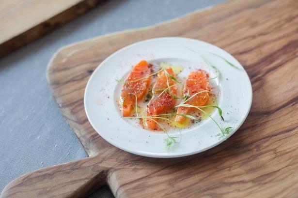 Trout Crudo w/ seasoning by Chef Rob of Buca