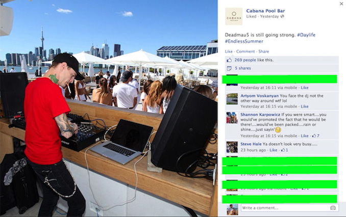Deadmau5 at cabana pool bar surprise show in toronto for Pool show toronto 2015