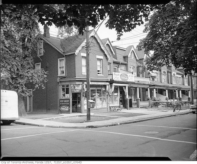 Orpen Properties Patoff Grocery 391 Brock Avenue and Smyth Variety Store 389 Brock Ave Muir Ave-SE corner - 195?.