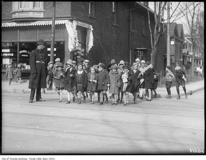 Kid's Safety Club, policeman and girls. - Roncesvalles Fern Avenue April 25 1928 William Forster Grocer 177 Roncesvalles.jpg - April 25, 1928