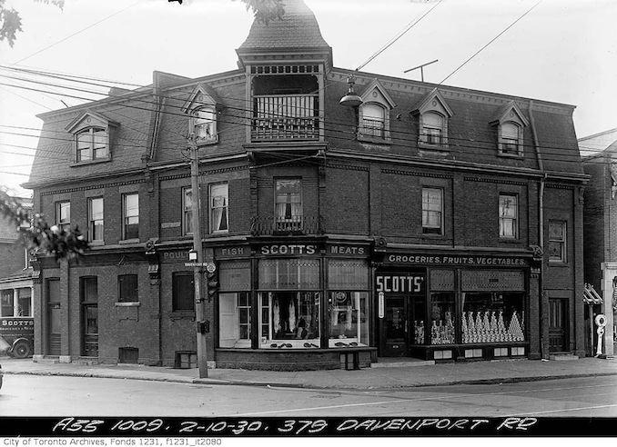 Scotts' Grocery Store SW corner of Davenport & Dupont - October 2, 1930
