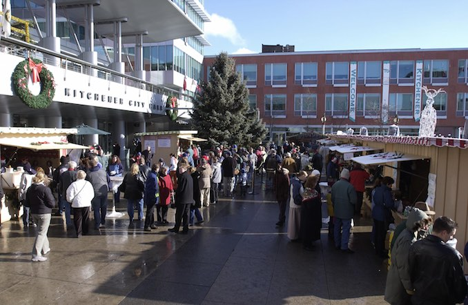 Vendors at Christmas Market in Kitchener